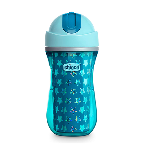 Chicco Insulated Flip-Top Straw Spill Free Baby Sippy Cup, 12 Months+, Dark Blue, 9 Ounce