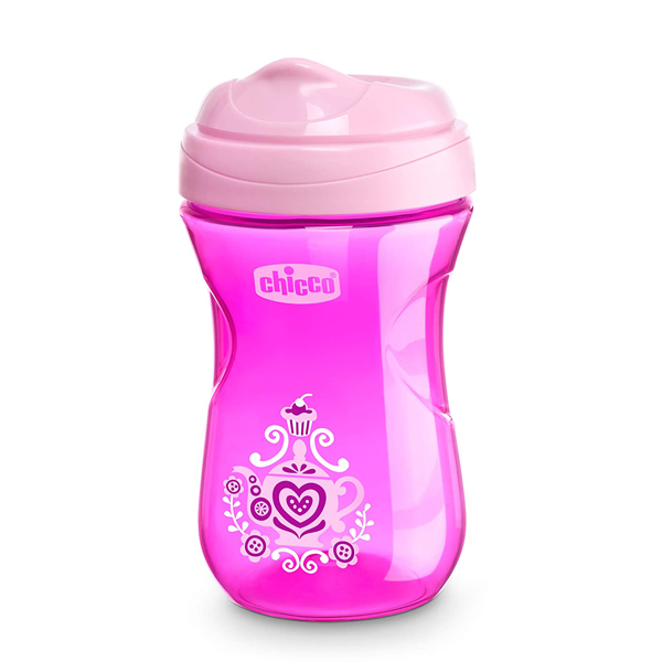 Chicco Rim Spout Trainer Sippy Cup, 9 Months+, Pink, 9 Ounce