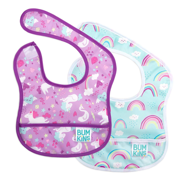 Bumkins Starter Bib, Baby Bib Infant,, 3-9 Months, 2-Pack – Unicorns & Rainbows