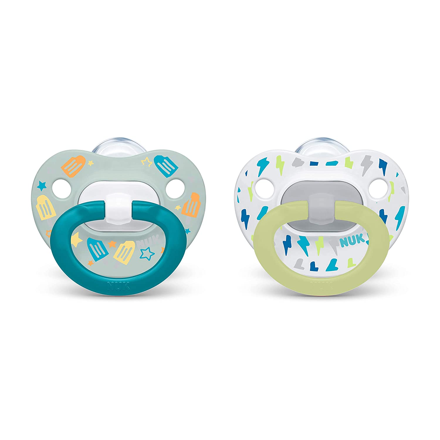 NUK Orthodontic Pacifier Value Pack, Blue White, 6-18 Months, 2-Pack