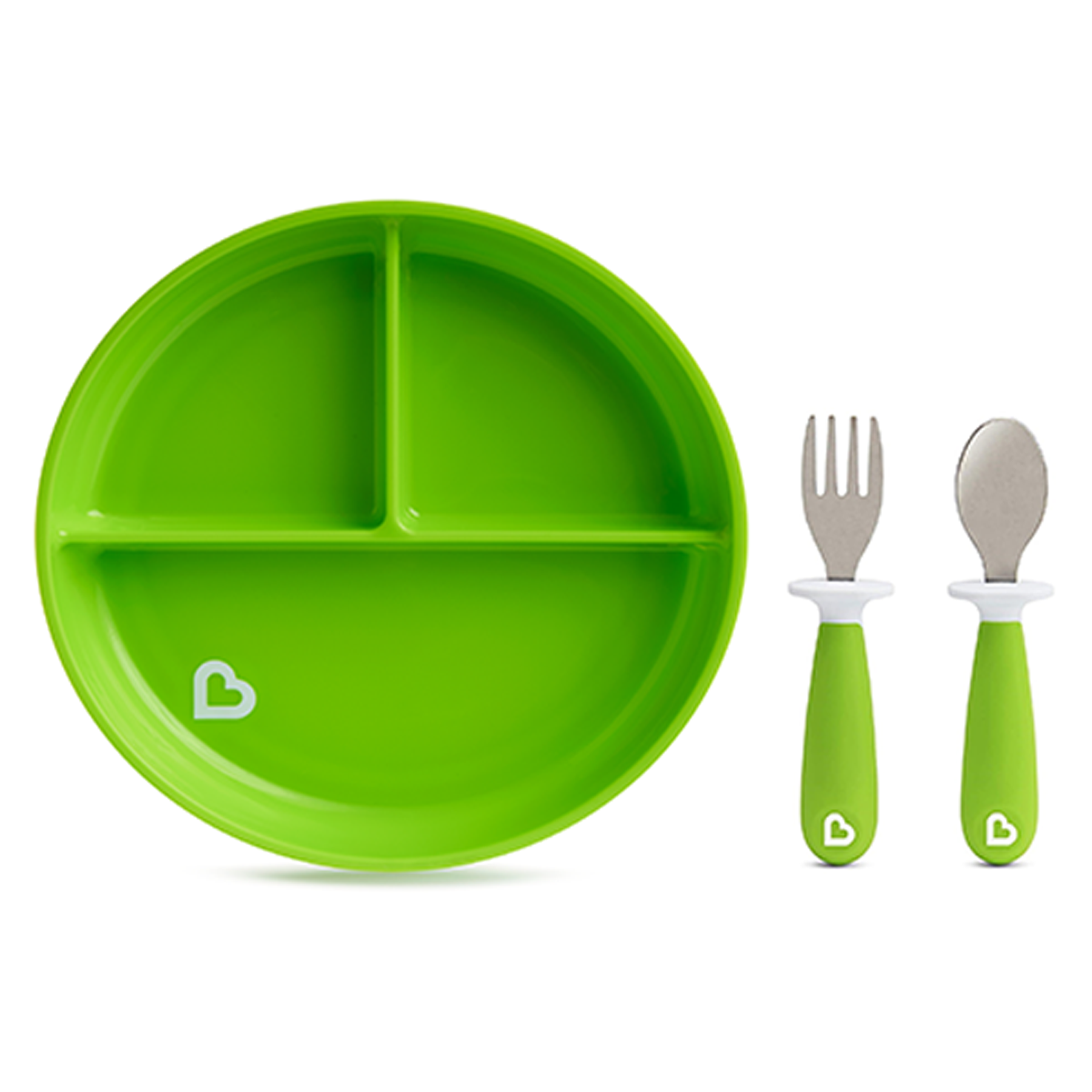 Munchkin Stay Put Divided Suction Plate with Fork & Spoon Green