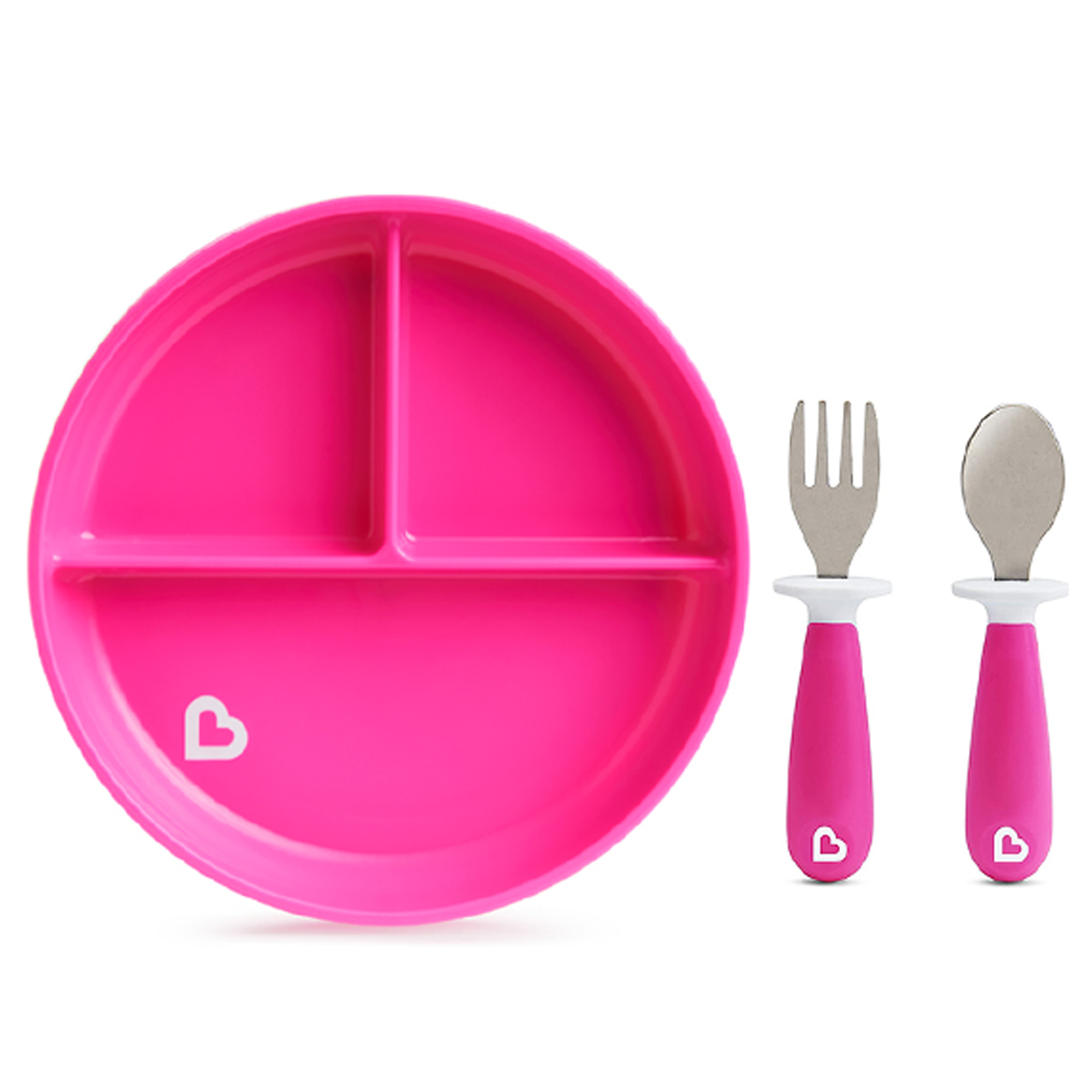 Munchkin Stay Put Divided Suction Plate with Fork & Spoon Pink