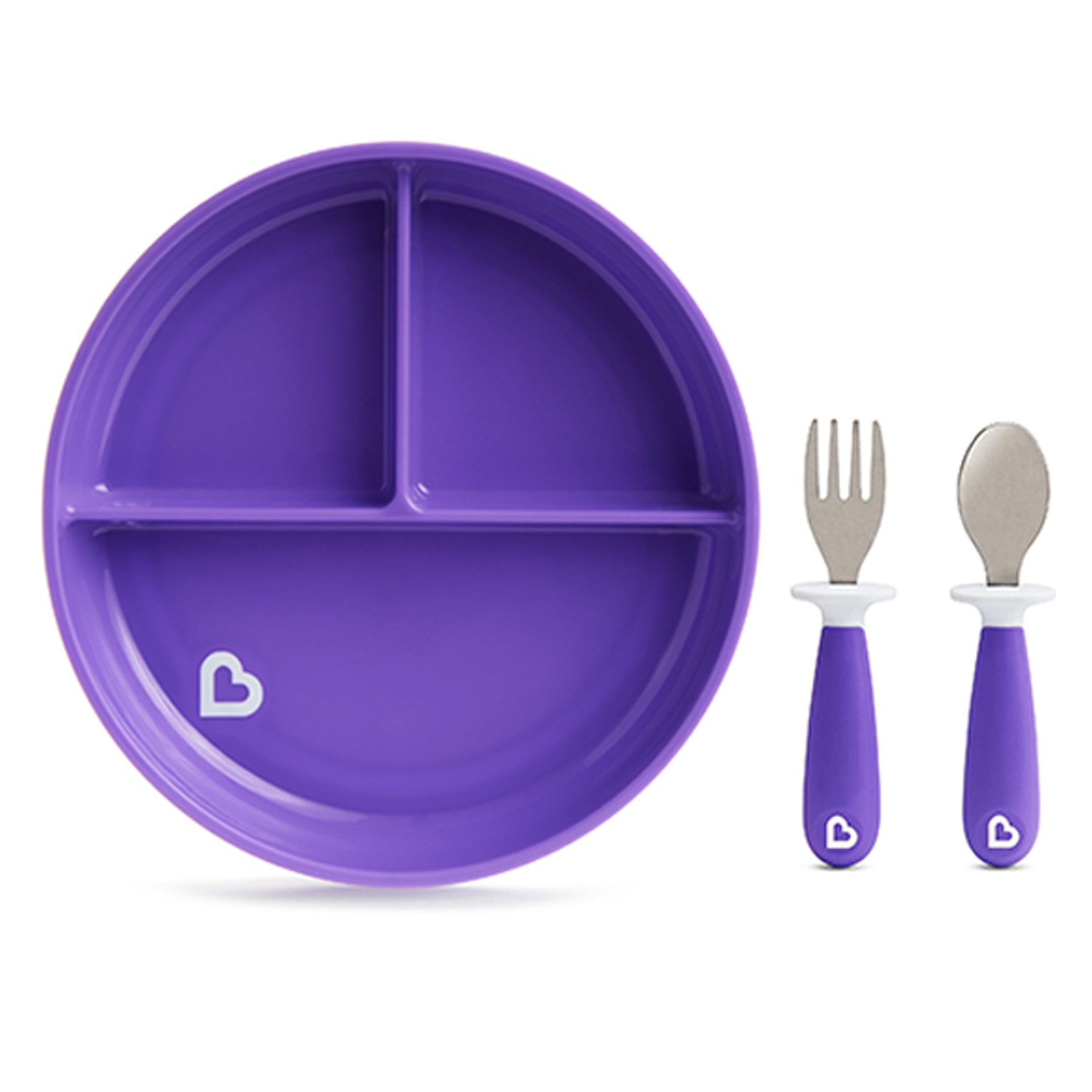 Munchkin Stay Put Divided Suction Plate with Fork & Spoon Purple