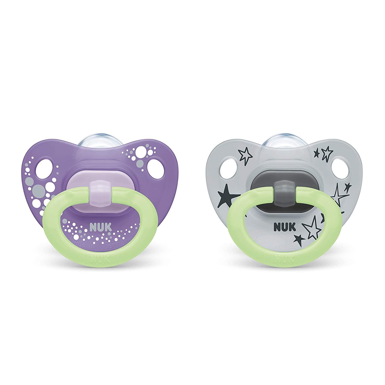 NUK Glow-in-The-Dark Orthodontic Pacifiers 6-18 Purple Gray